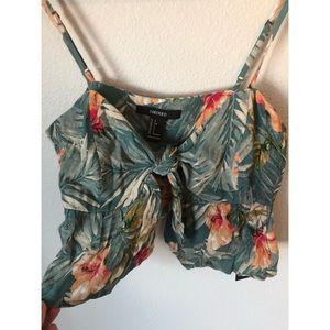 Tropical Floral Tie Front Crop Top
